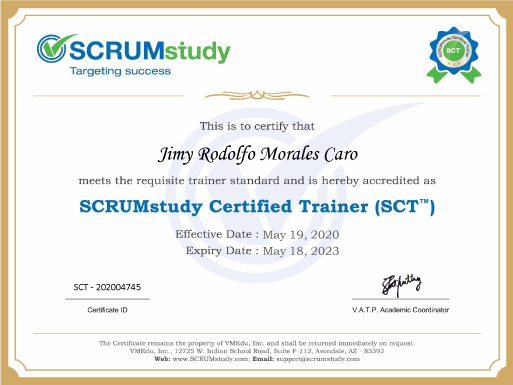 scrumstudy certified trainer
