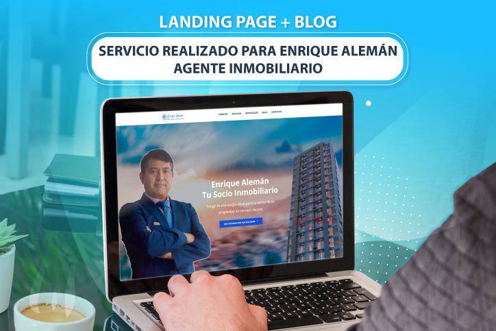 diseño de landing page a medida para enrique aleman agente inmobiliario